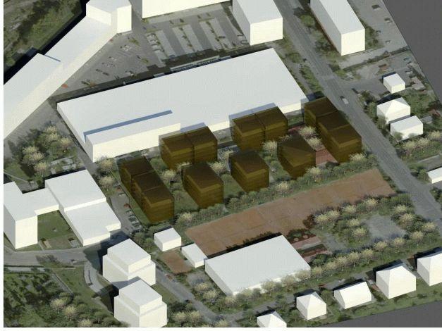 Umístění a podlažnost budov varianta 1 pohled východní
