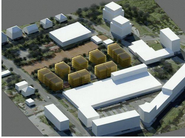 Umístění a podlažnost budov varianta 1 pohled západní