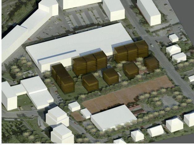 Umístění a podlažnost budov varianta 2 pohled východní