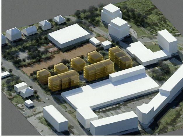Umístění a podlažnost budov varianta 2 pohled západní