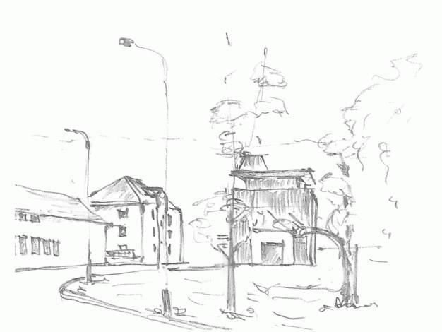 Kreslená perspektiva naproti viaduktu