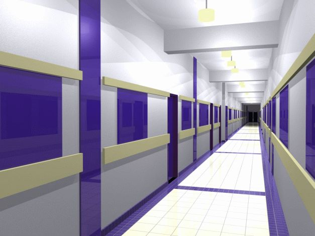 Návrh interiéru chodby prvního podlaží - modrá var.2