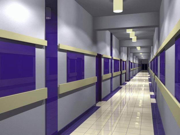 Návrh interiéru chodby prvního podlaží - modrá var.3