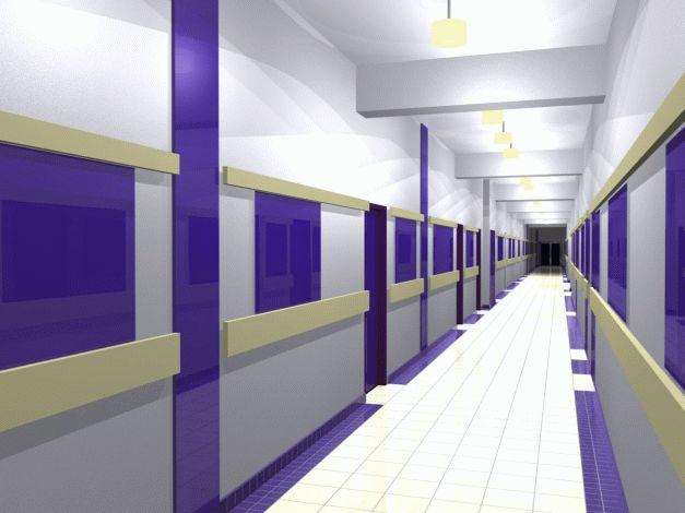 Návrh interiéru chodby prvního podlaží - modrá var.4