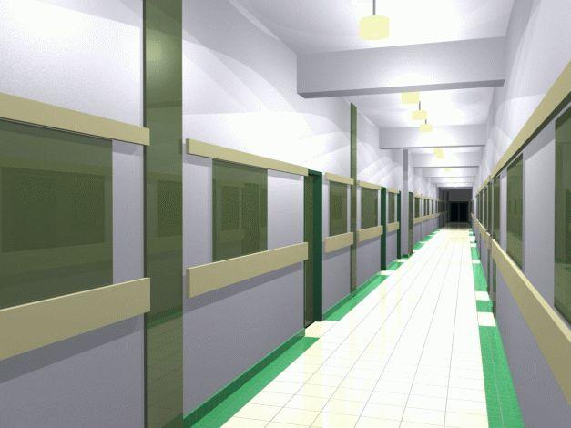 Návrh interiéru chodby druhého podlaží - zelená var.4
