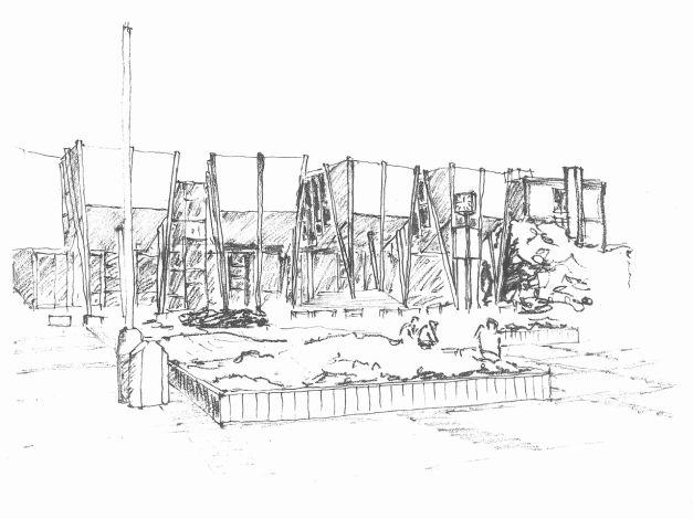 Kreslená perspektiva navržených poslucháren jihozápadní pohled
